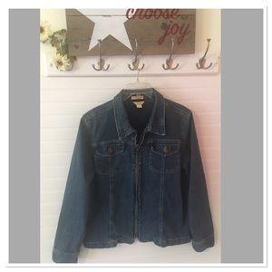 Womens Christopher & Banks Zip Front Denim Jacket